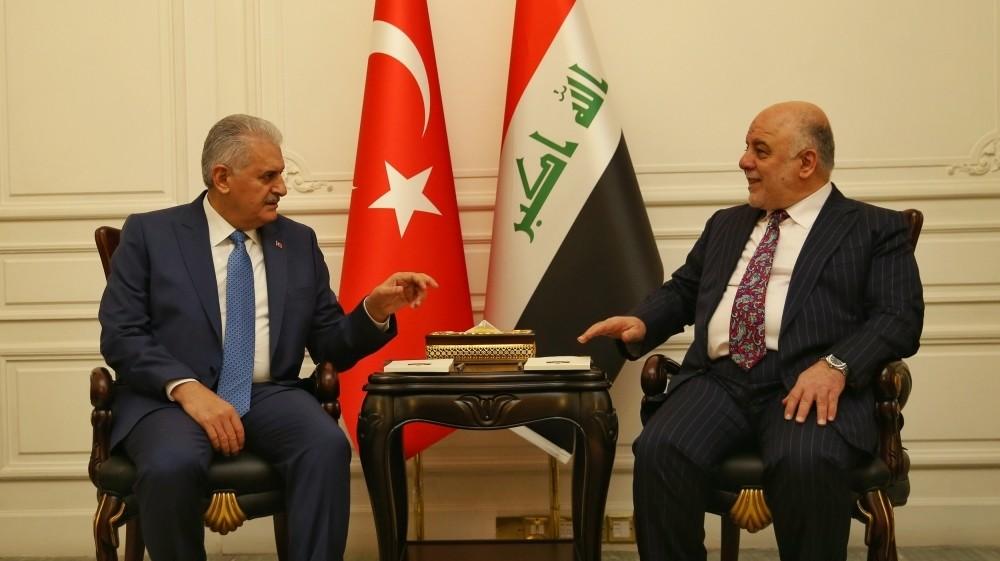 Turkey's Prime Minister Binali Yu0131ldu0131ru0131m met his Iraqi counterpart Haider al-Abadi in Baghdad on January 8, 2017. (Reuters Photo)