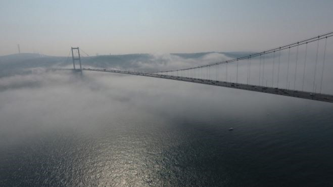 A view on the 15 July Martyrs Bridge connecting the European and Asian sides of Istanbul over the Bosphorus on March 1, 2017. (IHA Photo)