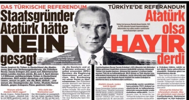 "Bild's headline in both German and Turkish. translated as: ""Referendum in Turkey: Atatürk would say 'no'."""