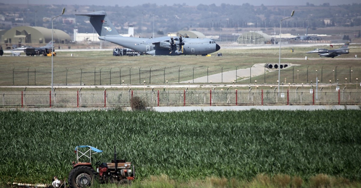 A military aircraft of Turkish air force lands at the Incirlik 10th tanker base command in Saru0131u00e7am district, Adana on July 24, 2015 (AA File Photo)