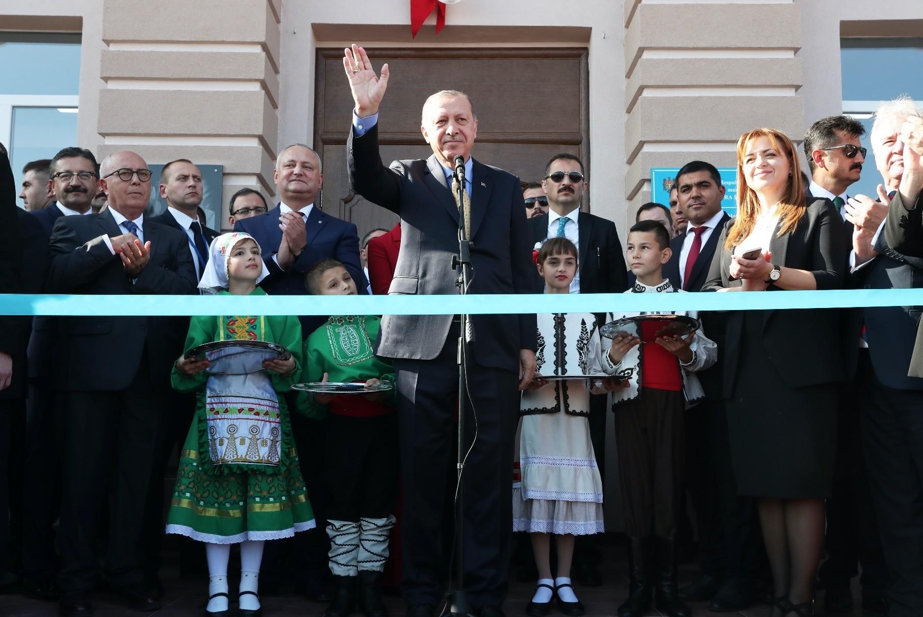 President Recep Tayyip Erdou011fan attends an inauguration ceremony in Comrat, Gagauz Autonomous Republic, yesterday.