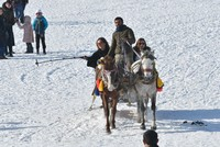 Sleigh rides and strolls on frozen lake, visitors at Lake Çıldır have an enjoyable time