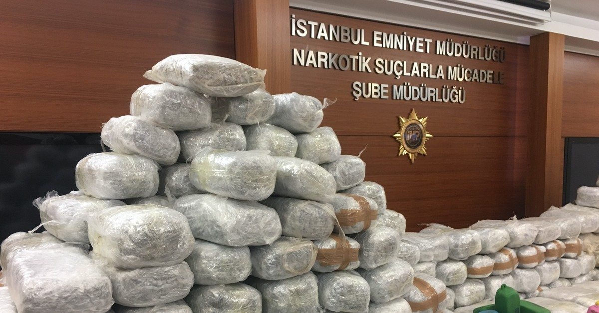Drugs seized in a counternarcotics operation in Istanbul in 2018 on display.