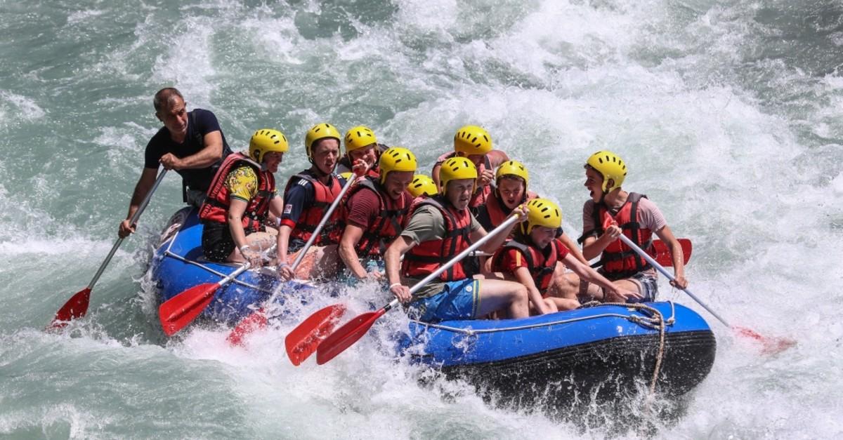 Rafting activities lure hundreds of thousands of tourists to the Ku00f6pru00fclu00fc Canyon, Antalya.