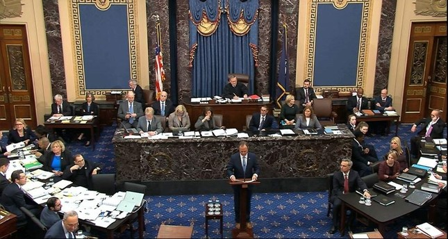In this image from video, impeachment manager Rep. Adam Schiff, D-Calif., argues in favor of amendment regarding selective admission of evidence and handling of classified material that was offered by Senate Minority Leader Chuck Schumer, D-N.Y., during the impeachment trial against President Donald Trump in the Senate at the U.S. Capitol in Washington, Tuesday, Jan. 21, 2020. Senate Television via AP
