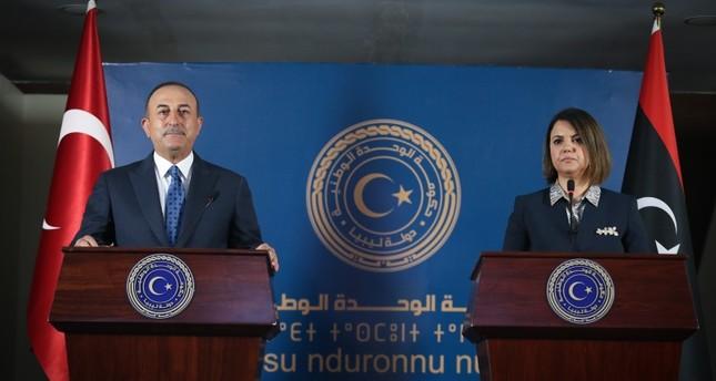 وزير الخارجية التركي في المؤتمر الصحفي مع وزيرة الخارجية الليبية في طرابلس الأناضول