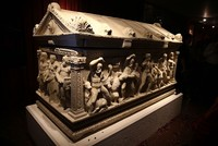 The sarcophagus of Hercules brought from Zurich to Istanbul earlier this month was put on display in the museum of Antalya, a southern city where the second century artifact originated.