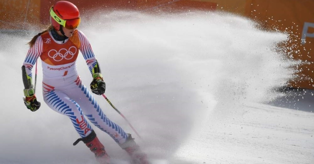 Mikaela Shiffrin competes in the women's giant slalom at the Winter Olympic Games, Pyeongchang, Feb. 15, 2018. (AFP Photo)