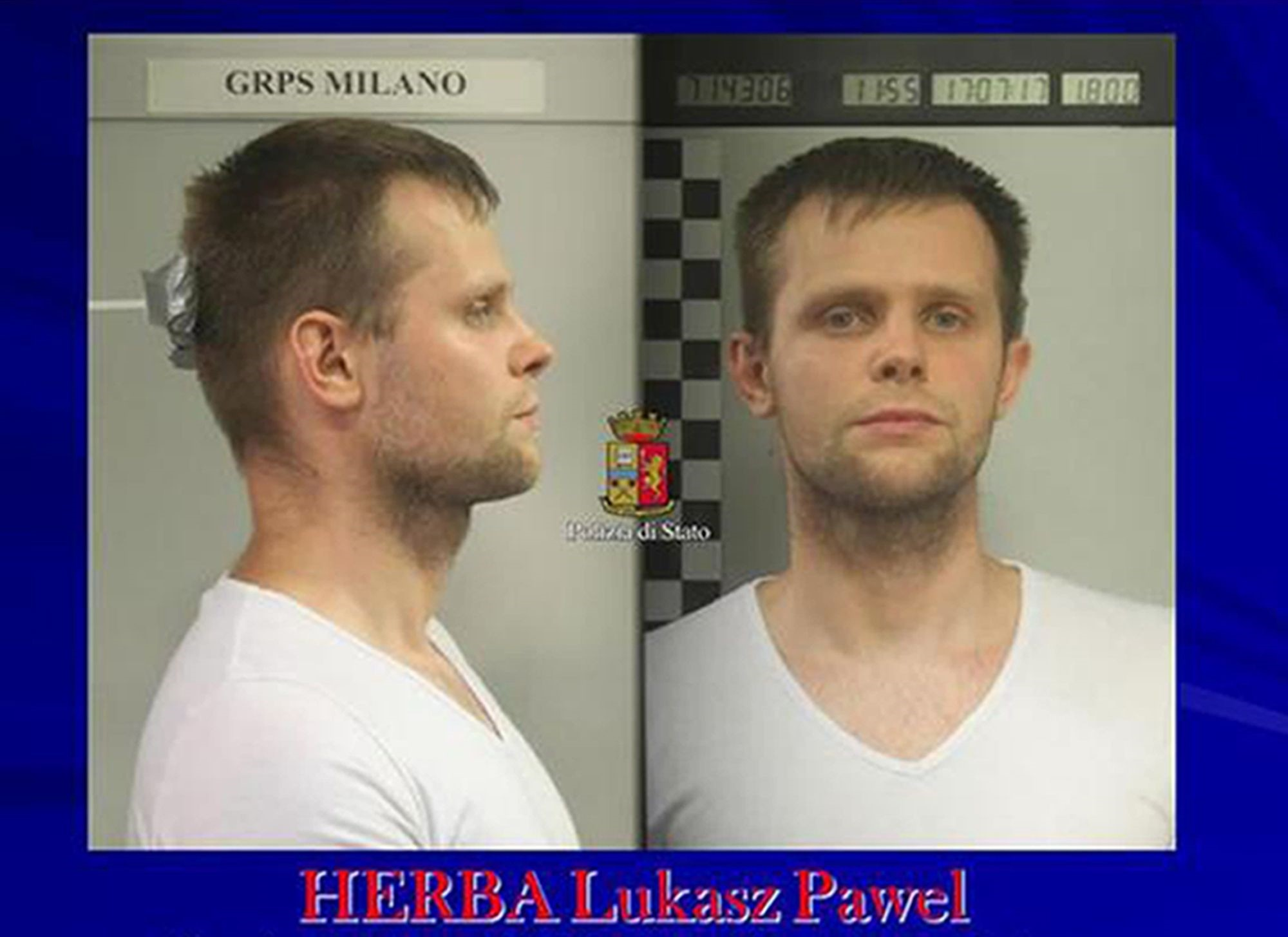 Photo released by police of a man identified as Lukasz Pawel Herba has been arrested in the alleged kidnapping of a young British model. (AP Photo)