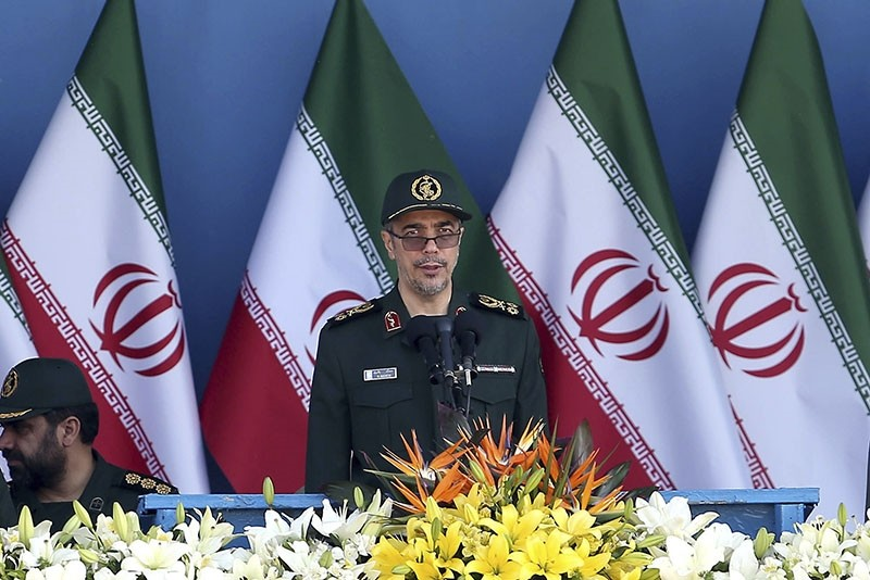 In this Sept. 21, 2016 file photo, Iran's Chief of Staff Gen. Mohammad Hossein Bagheri delivers a speech during a military parade marking the 36th anniversary of Iraq's 1980 invasion of Iran, in front of Khomeini's shrine, Tehran, Iran. (AP Photo)