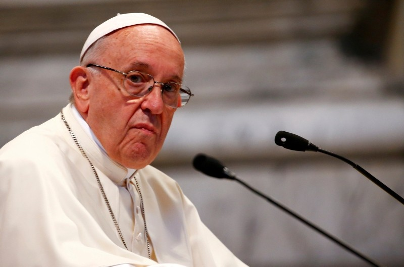 Pope Francis attends a meeting with faithful of the diocese of Rome at Saint John Lateran Basilica in Rome, Italy May 14, 2018 (Reuters Photo)