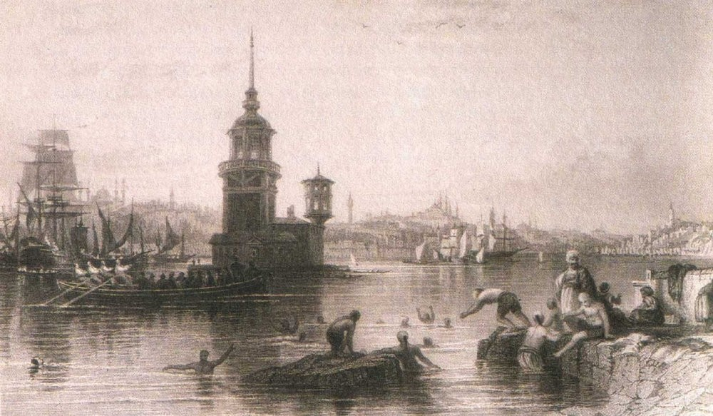 A drawing of Istanbulites taking a dip in the Marmara Sea during the Ottoman times.