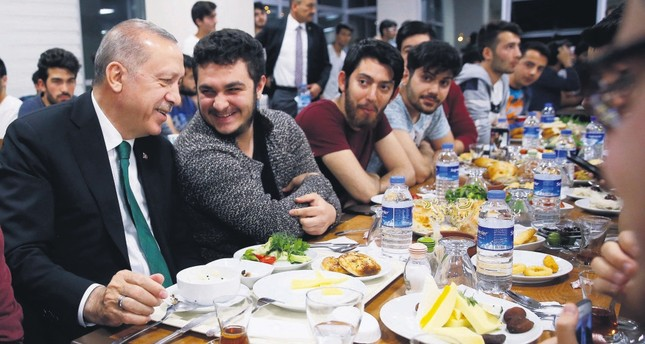 President Recep Tayyip Erdoğan during a sahur meal with students in Ramadan, the Muslim's holy month of fasting, June 4.