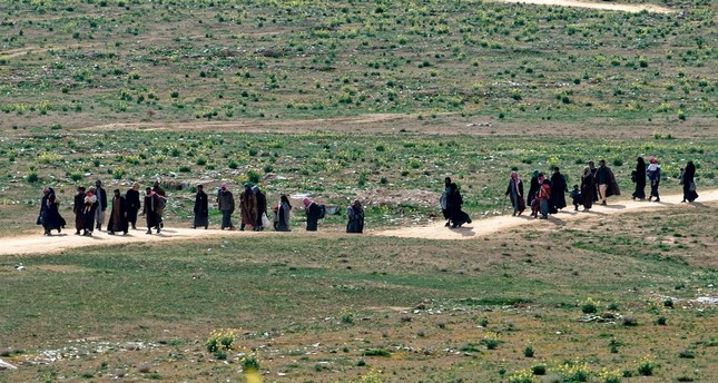 Daesh terrorists and their families walk in a field as they leave the terrorist group's last territory, the village of Baghouz, Feb. 13, 2019.