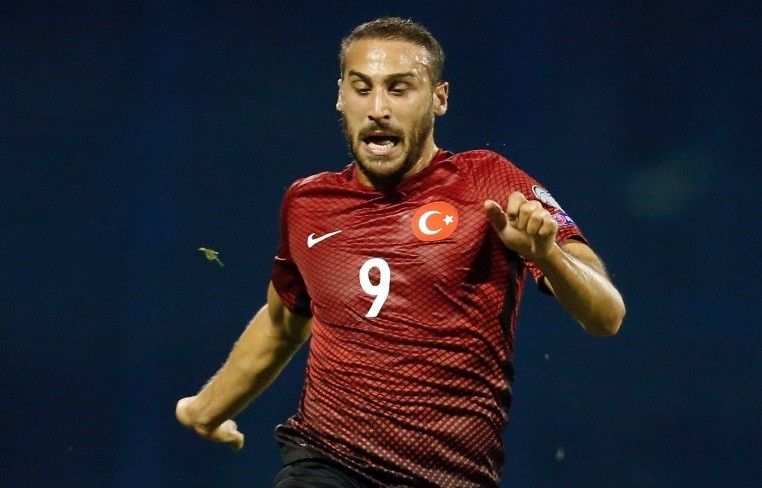 Cenk Tosun is challenged by Croatiau2019s Domagoj Vida during the World Cup Group I qualifying match between Croatia and Turkey, at Maksimir stadium in Zagreb, on Sept. 5, 2016.