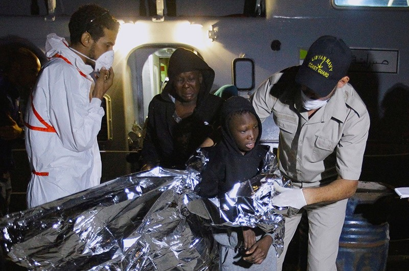 Migrants arrive at a naval base after they were rescued by Libyan coastguard, in Tripoli, Libya October 31, 2017. (Reuters Photo)