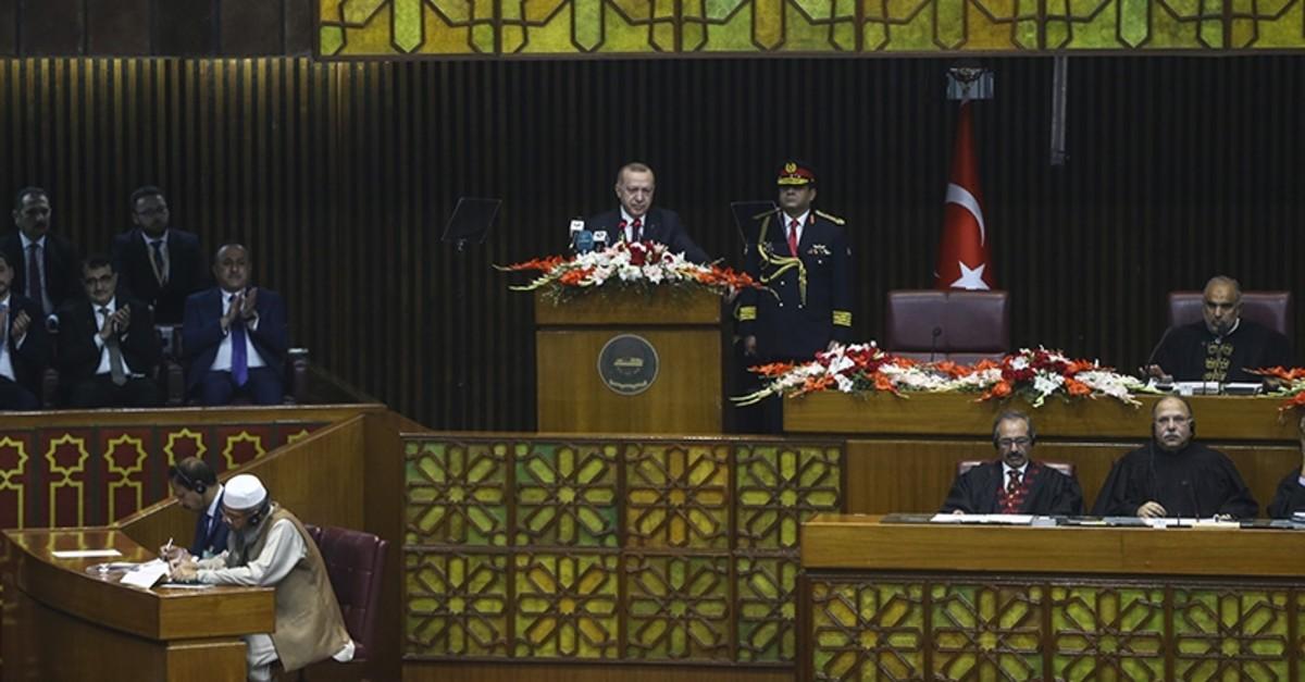 President Recep Tayyip Erdou011fan speaks at the Pakistani parliament on Friday, Feb. 14, 2020 (AA Photo)