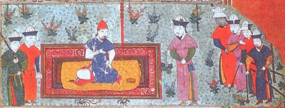 A miniature depicting Hassan Sabbah with his hashashins.