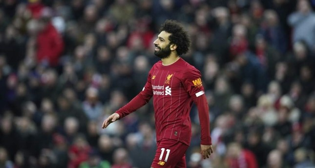 Liverpool's Mohamed Salah during an English Premier League match against Southampton at Anfield Stadium, Feb. 1, 2020. AP Photo