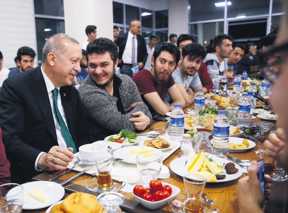 President Recep Tayyip Erdou011fan during a sahur meal with students in Ramadan, the Muslim's holy month of fasting, June 4.