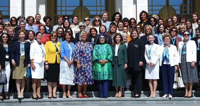 First lady Emine Erdoğan (C) organized a lunch for women envoys and spouses of envoys as part of the 11th Ambassadors' meeting in Ankara, Aug. 07, 2019.