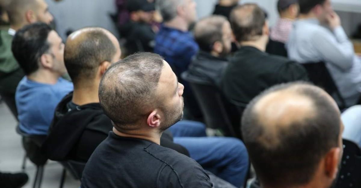 People attend a meeting in Tel Aviv on hair transplantation opportunities in Turkey. (AA Photo)
