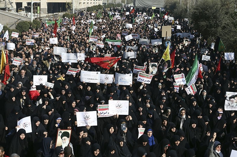 In this Dec. 30, 2017, photo, Iranian pro-government protesters chant slogans at a rally in Tehran, Iran. (AP Photo)