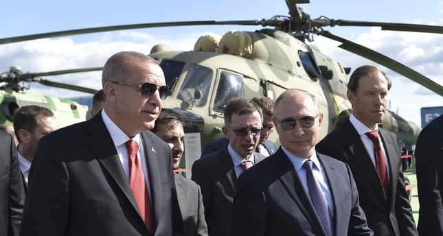President Recep Tayyip Erdoğan and Russian President Vladimir Putin R attend the MAKS-2019 International Aviation and Space Show in Zhukovsky, Moscow, Aug. 27, 2019.