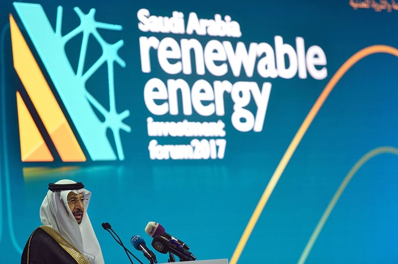 Saudi Minister of Energy, Industrial and Mineral Resources, Khaled al-Falih, speaks during the Saudi Arabia Renewable Energy Investment Forum (SAREIF) on April 17, 2017, in Riyadh. (AFP Photo)