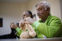 Senior Turkish men fight memory loss with knitting