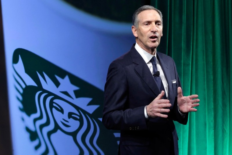 In this Dec. 7, 2016, file photo, Starbucks Chairman and CEO Howard Schultz speaks during the Starbucks 2016 Investor Day meeting in New York. (AP Photo)