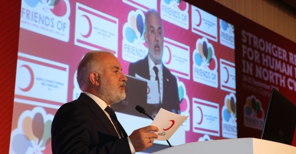 Kerem Ku0131nu0131k, president of the Turkish Red Crescent, speaks at the ,Stronger Red for Human Dignity in North Cyprus, event in Girne. (AA Photo)