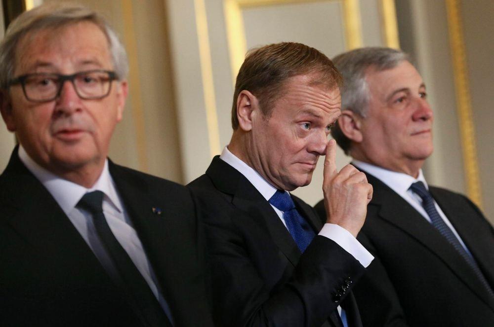 European Commission President Jean-Claude Juncker, President of the European Council Donald Tusk and President of the European Parliament Antonio Tajani in Brussels.