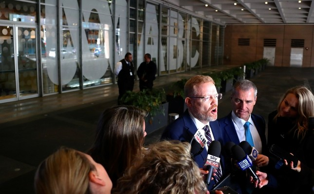 Editorial Director of the Australian Broadcasting Corp (ABC) Craig McMurtie speaks to members of the media outside the ABC building located at Ultimo in Sydney, Australia, June 5, 2019. (AAP/David Gray via Reuters)