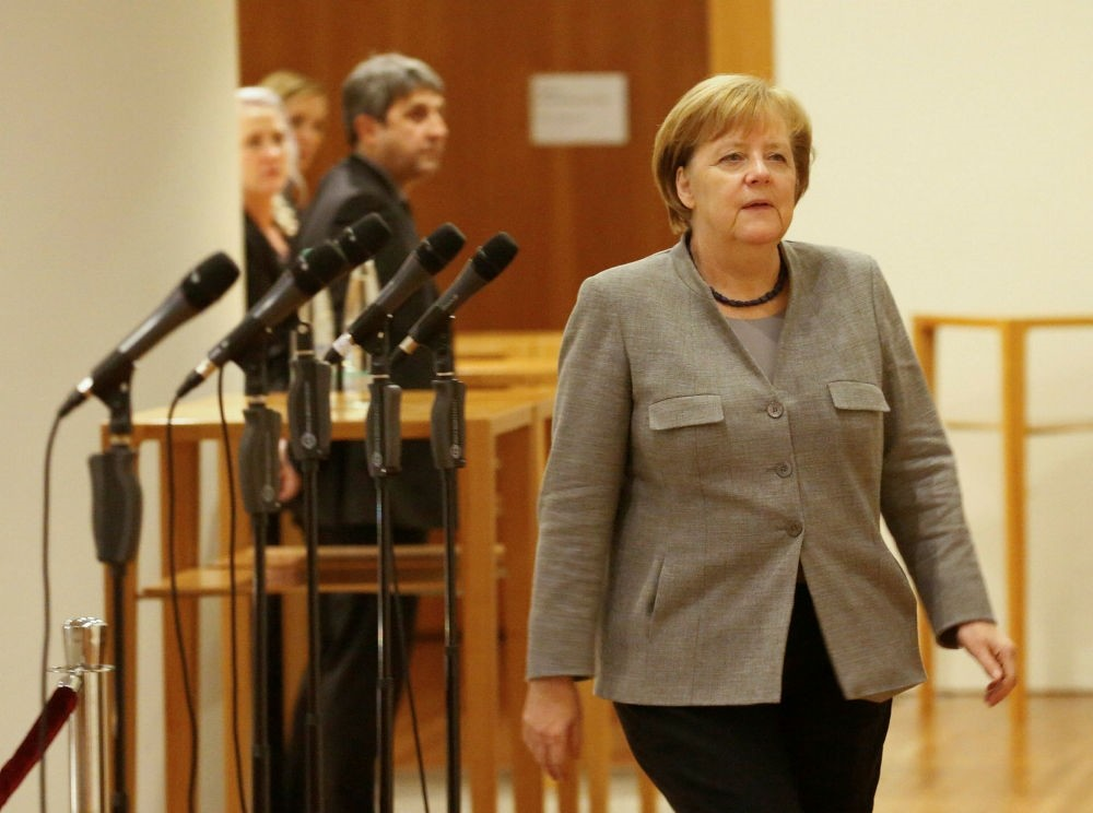 German Chancellor Merkel of the Christian Democratic Union (CDU) during exploratory talks to form a new coalition government, Berlin, Nov. 19.