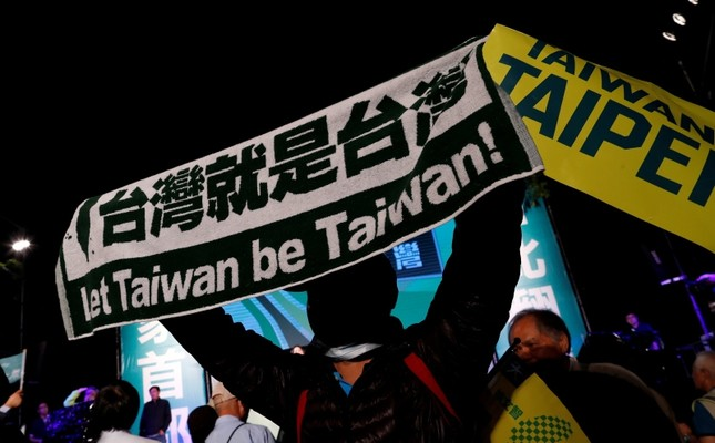 A pro-independence supporter reacts during a campaign rally held by the ruling Democratic Progressive Party (DPP), in Taipei, Taiwan Nov. 21, 2018. (Reuters Photo)
