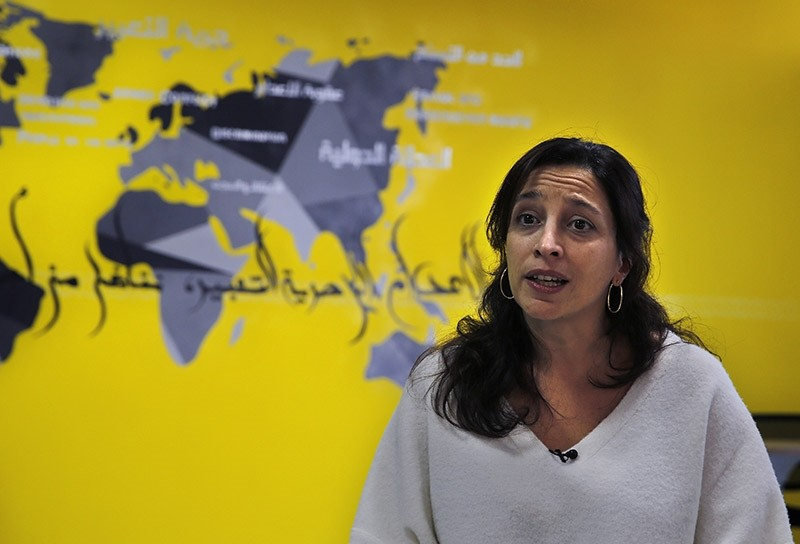 Lynn Maalouf, deputy director of research at Amnesty International Middle East and North Africa, speaks during an interview in Beirut, Lebanon on Monday, Feb. 6, 2017. (AP Photo)