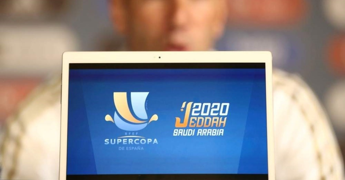 Real Madrid coach Zinedine Zidane seen during a press conference ahead of Spanish Super Cup in Jeddah, Saudi Arabia, Jan. 7, 2020. (Reuters Photo)