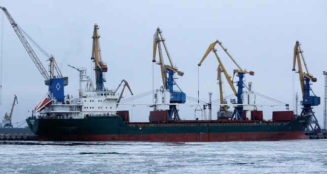 A ship at the pier in Mariupol trade port in Mariupol, south coast of Azov sea, eastern Ukraine, Sunday, Dec. 2, 2018. (AP Photo)