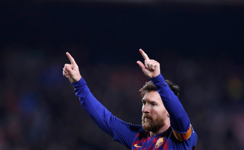 FC Barcelona's Lionel Messi celebrates after scoring during the Spanish La Liga soccer match between FC Barcelona and Leganes at the Camp Nou stadium in Barcelona, Spain, Sunday, Jan. 20, 2019. (AP Photo)