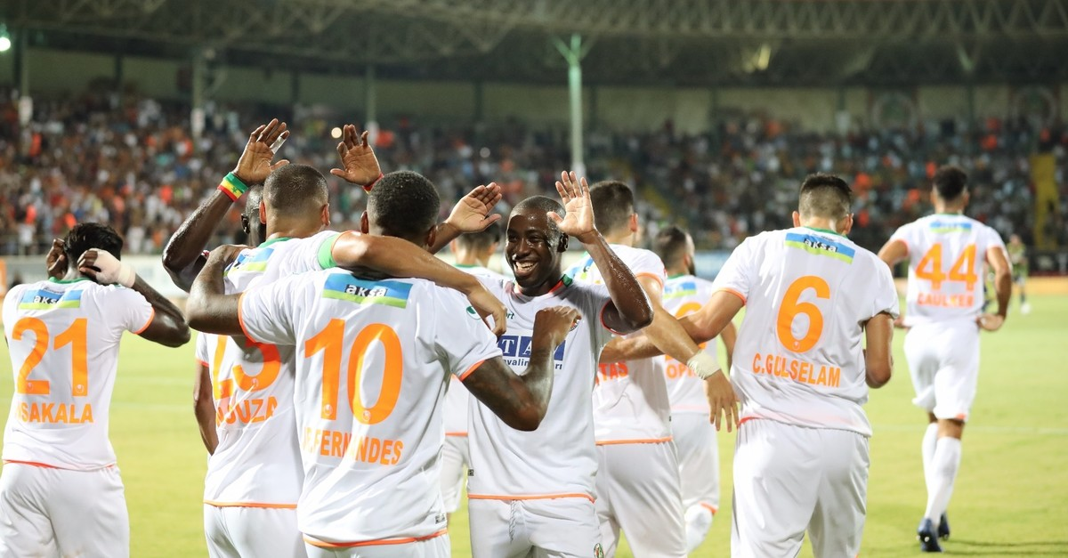 Aytemiz Alanyaspor players celebrate a goal against Fenerbahu00e7e who they defeated 3-1 in a Week Four match,  Sept. 16, 2019.