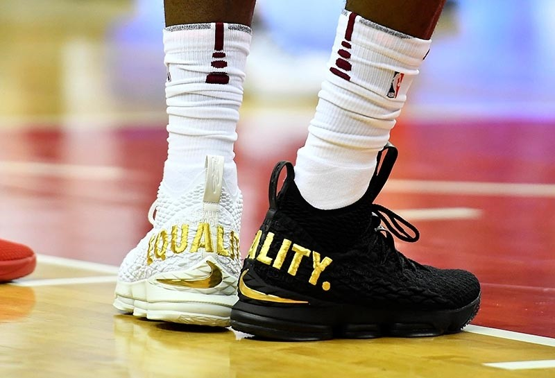 Cleveland Cavaliers forward LeBron James (23) wears Equality shoes against the Washington Wizards during the first half at Capital One Arena (Brad Mills-USA TODAY Sports)