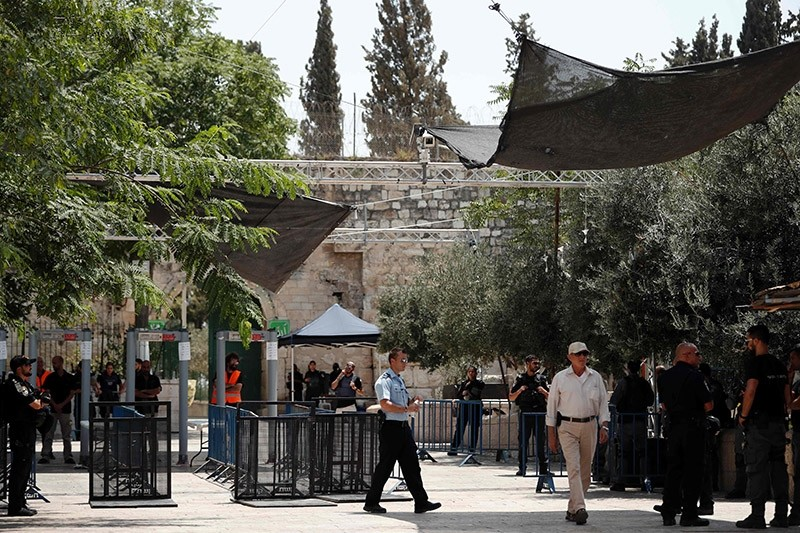 A picture taken on July 23, 2017, shows security measures installed by Israeli authorities, which include metal detectors and cameras outside Lions' Gate, a main entrance to Al-Aqsa Mosque compound in Jerusalem. (AP Photo)