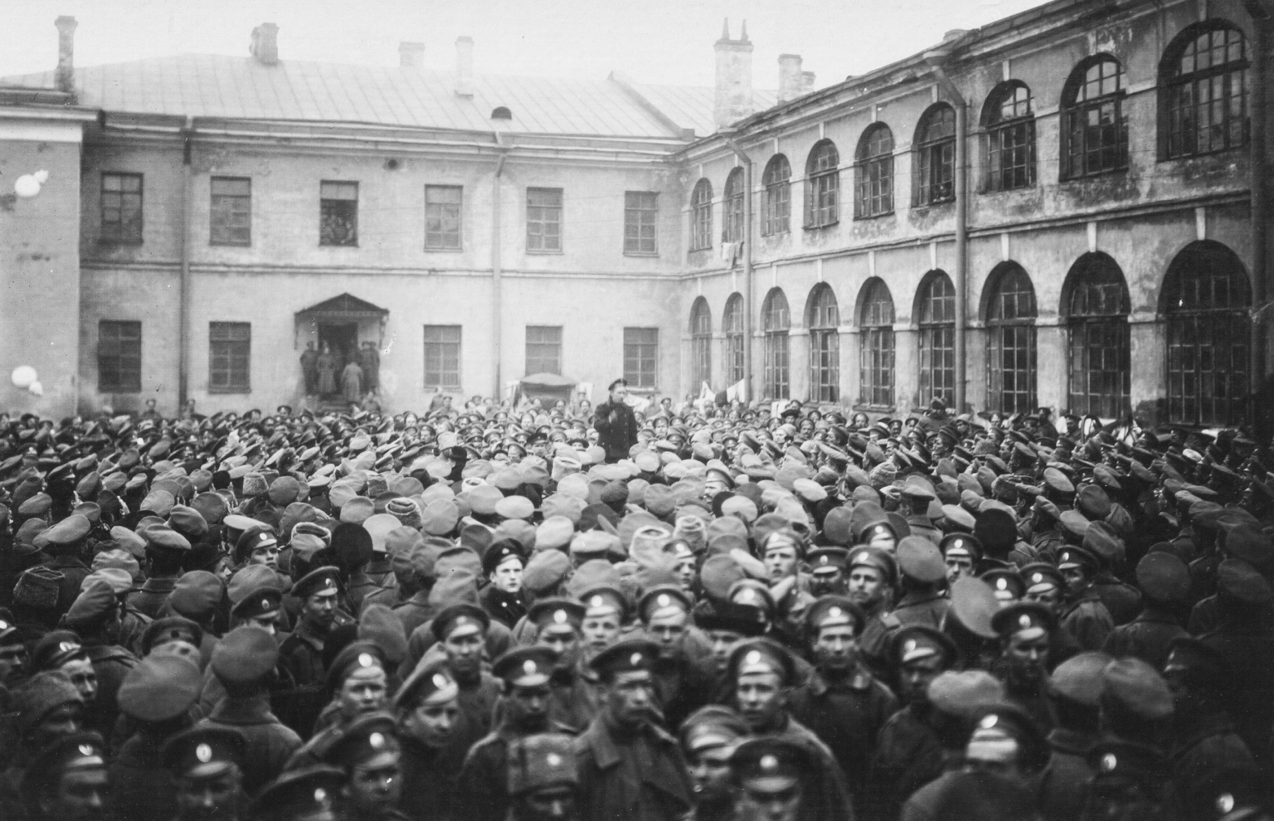 Soldiers of the Grenadier Regiments wait for Lenin's arrival on the parade ground near the barracks in St. Petersburg, Russia, October, 1917.