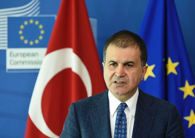 Turkey's Minister for EU Affairs u00d6mer u00c7elik addresses a joint press conference following the EU-Turkey High Level Political Dialogue meeting at the EU headquarters in Brussels on July 25, 2017. (AFP Photo)