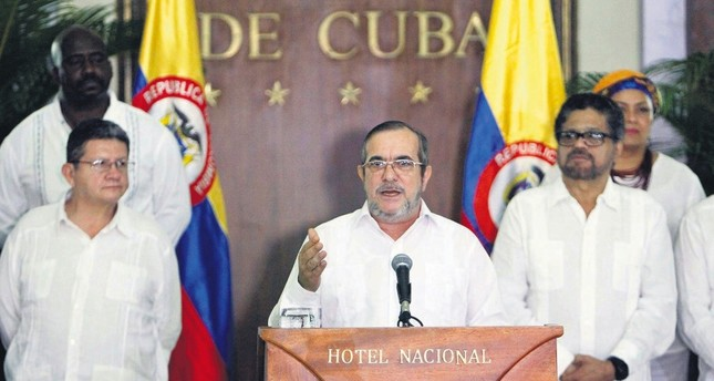 Leader of FARC militia group Rodrigo Londono Echeverri, alias 'Timochenko', spoke in Havana, Cuba,  Aug. 28 'Timochenko' declared the definitive cease-fire between FARC and the government forces after an agreement was reached between the two sides.