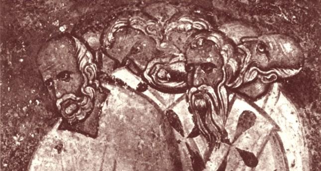A 13th century fresco depicting  council members against Bogomilism.