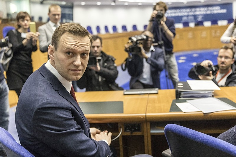 This is a Wednesday, Jan. 24, 2018. file photo of Russian opposition activist Alexei Navalny as he poses for photographers prior to a hearing at the European Court of Human Rights in Strasbourg, eastern France. (AP Photo)
