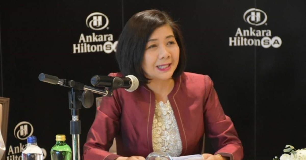 Ambassador to Turkey of the Kingdom of Thailand Phantipha Iamsudha Ekahorit speaking at the Thailand food festival press conference in Ankara, Dec. 3, 2019. (AA Photo)