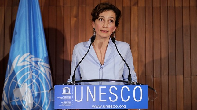 French former culture minister and newly elected head of UNESCO Audrey Azoulay addresses a press conference following her election on Oct. 13, 2017 at the UNESCO headquarters in Paris, France. (AFP Photo)